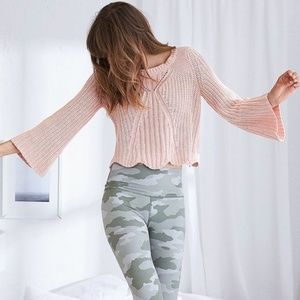 Aerie cropped bell sleeve pink sweater
